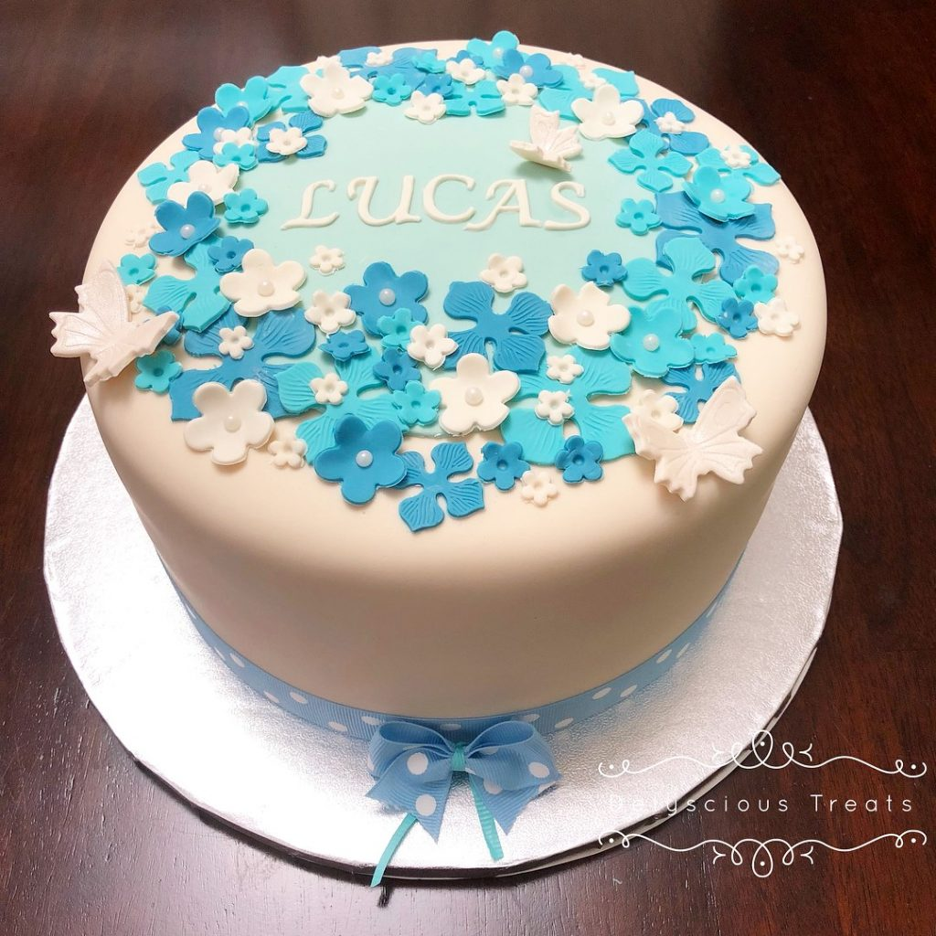 christening baby cake blue and white fondant with flowers