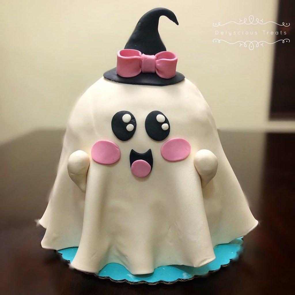 Halloween baby girl ghost fondant birthday cake