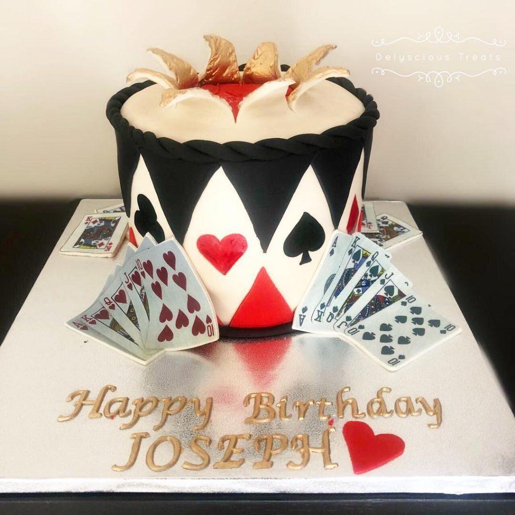 Adult birthday fondant cake playing cards gambling cake