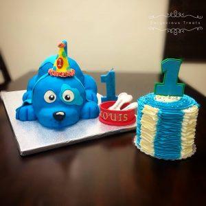 birthday cake puppy dog first birthday fondant smash cake buttercream
