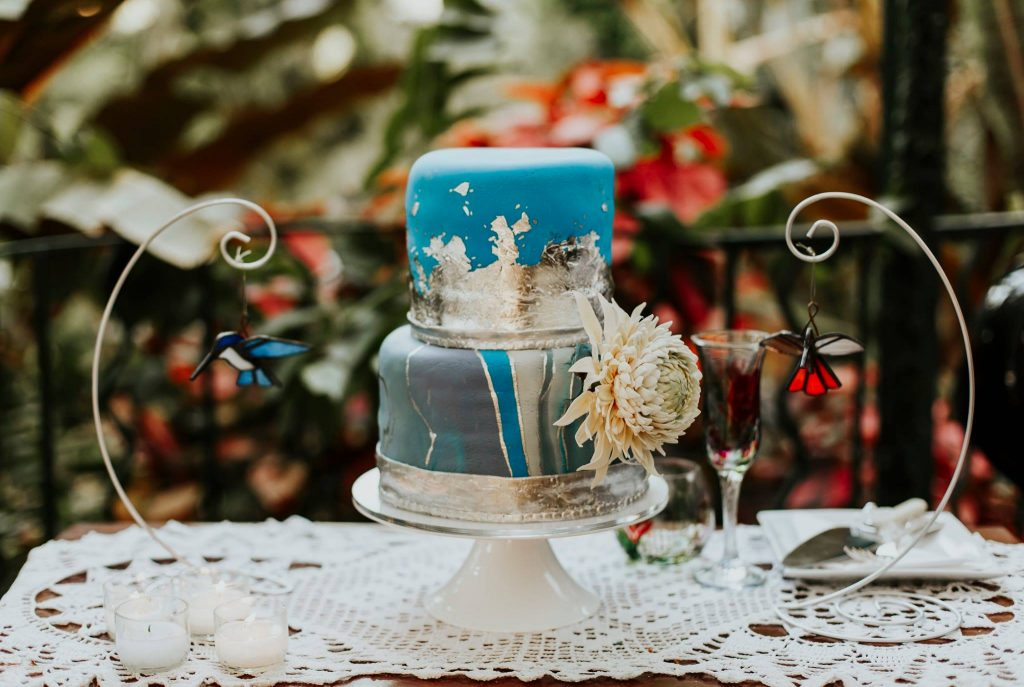 Blue and silver fondant wedding cake