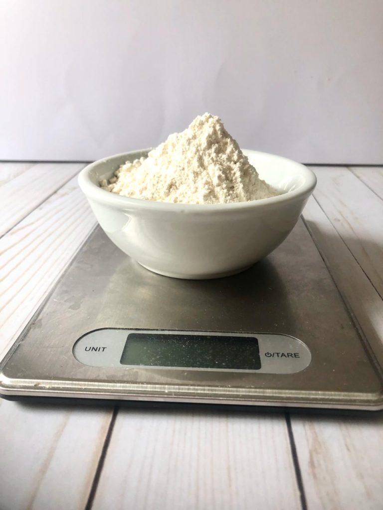 flour on a digital scale