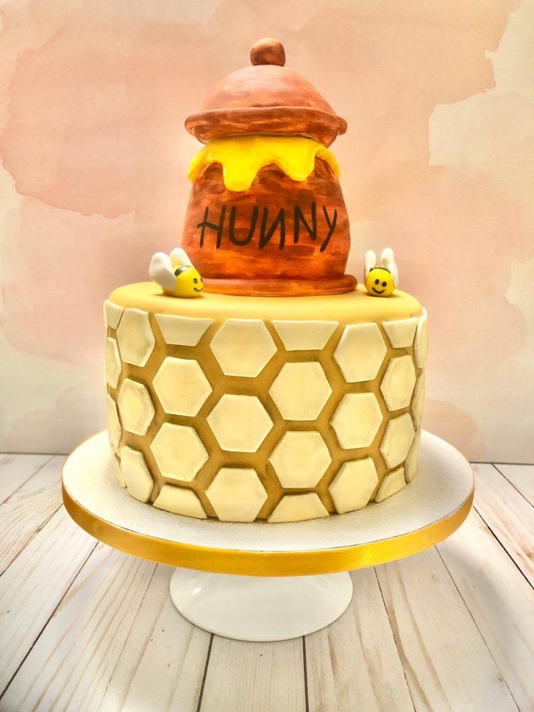 Honey themed first birthday baby fondant cake